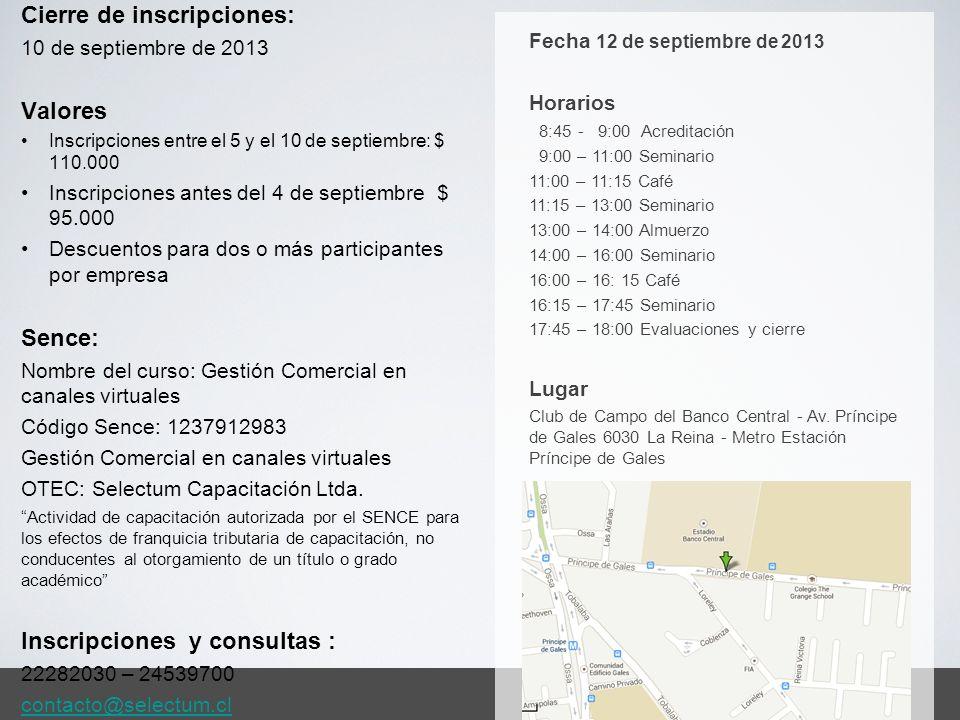 Cierre de inscripciones: 10 de septiembre de 2013 Valores Inscripciones entre el 5 y el 10 de septiembre: $ 110.000 Inscripciones antes del 4 de septi