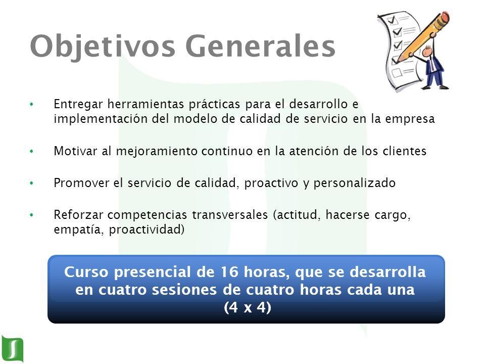 Objetivos Generales Entregar herramientas prácticas para el desarrollo e implementación del modelo de calidad de servicio en la empresa Motivar al mej