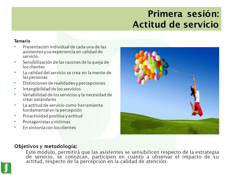 Primera sesión: Actitud de servicio Temario Presentación individual de cada una de las asistentes y su experiencia en calidad de servicio. Sensibiliza