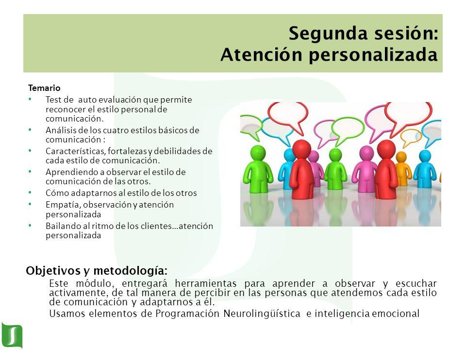 Segunda sesión: Atención personalizada Temario Test de auto evaluación que permite reconocer el estilo personal de comunicación. Análisis de los cuatr