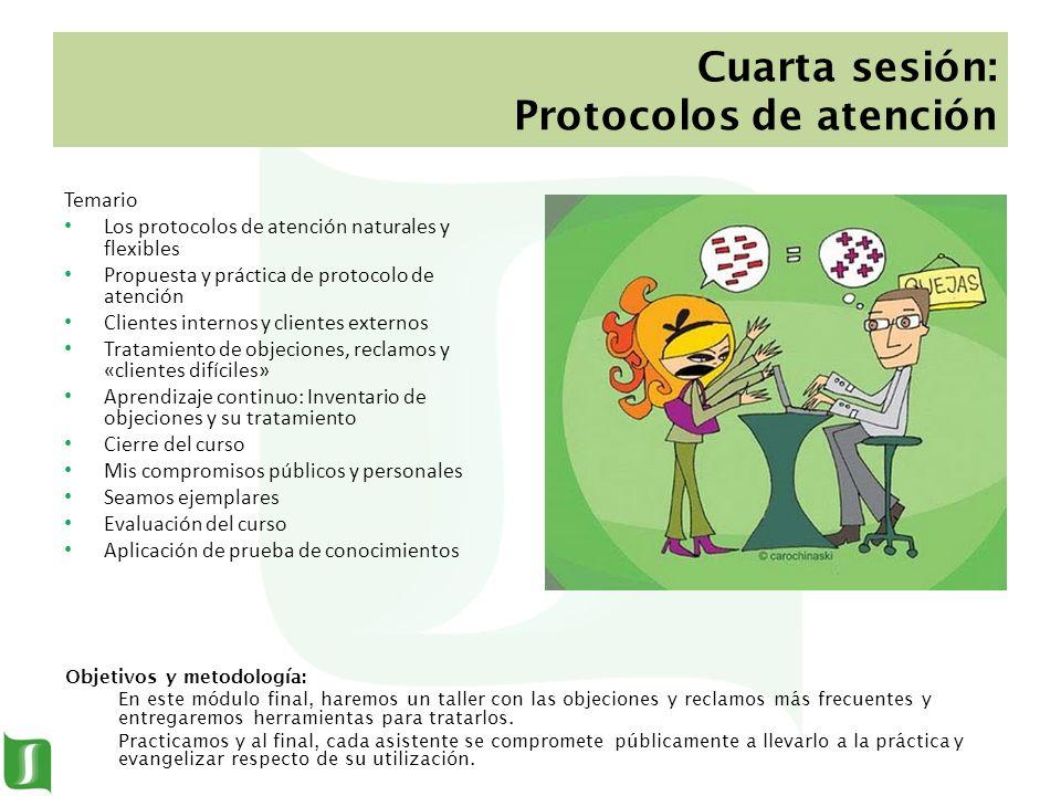 Cuarta sesión: Protocolos de atención Temario Los protocolos de atención naturales y flexibles Propuesta y práctica de protocolo de atención Clientes