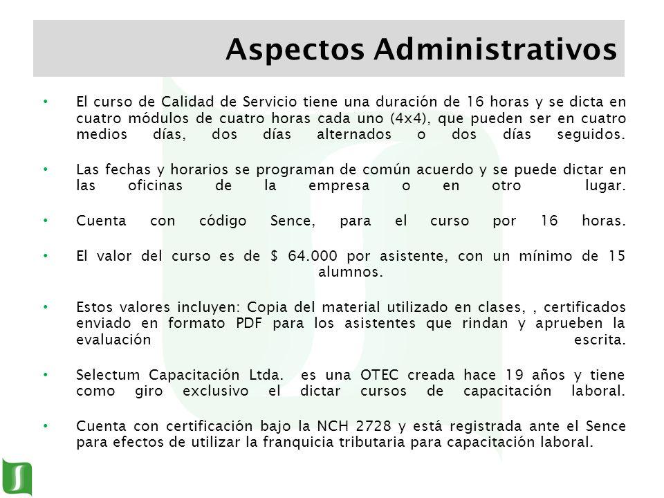 El curso de Calidad de Servicio tiene una duración de 16 horas y se dicta en cuatro módulos de cuatro horas cada uno (4x4), que pueden ser en cuatro m