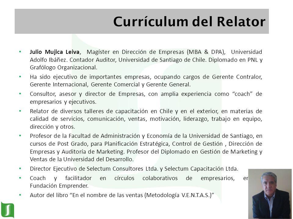 Julio Mujica Leiva, Magíster en Dirección de Empresas (MBA & DPA), Universidad Adolfo Ibáñez. Contador Auditor, Universidad de Santiago de Chile. Dipl