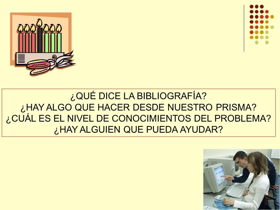 ¿QUÉ DICE LA BIBLIOGRAFÍA.¿HAY ALGO QUE HACER DESDE NUESTRO PRISMA.