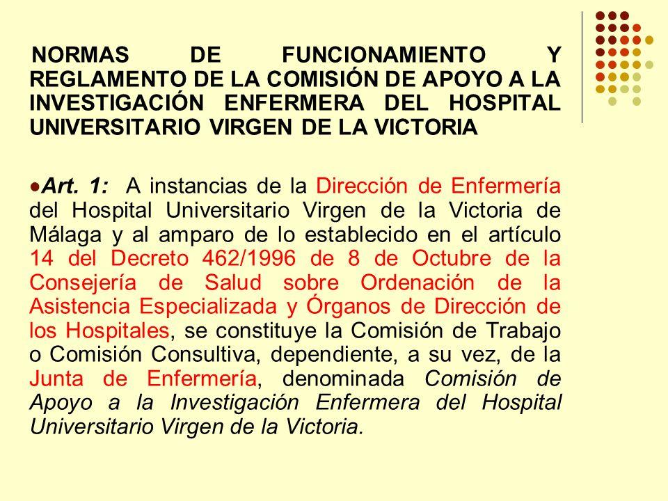 NORMAS DE FUNCIONAMIENTO Y REGLAMENTO DE LA COMISIÓN DE APOYO A LA INVESTIGACIÓN ENFERMERA DEL HOSPITAL UNIVERSITARIO VIRGEN DE LA VICTORIA Art.