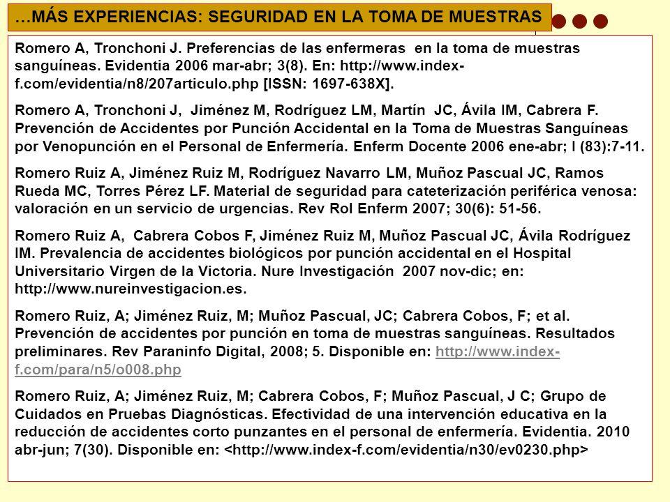 Romero A, Tronchoni J.Preferencias de las enfermeras en la toma de muestras sanguíneas.