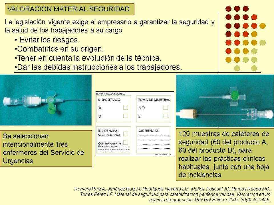 VALORACION MATERIAL SEGURIDAD Romero Ruiz A, Jiménez Ruiz M, Rodríguez Navarro LM, Muñoz Pascual JC, Ramos Rueda MC, Torres Pérez LF.