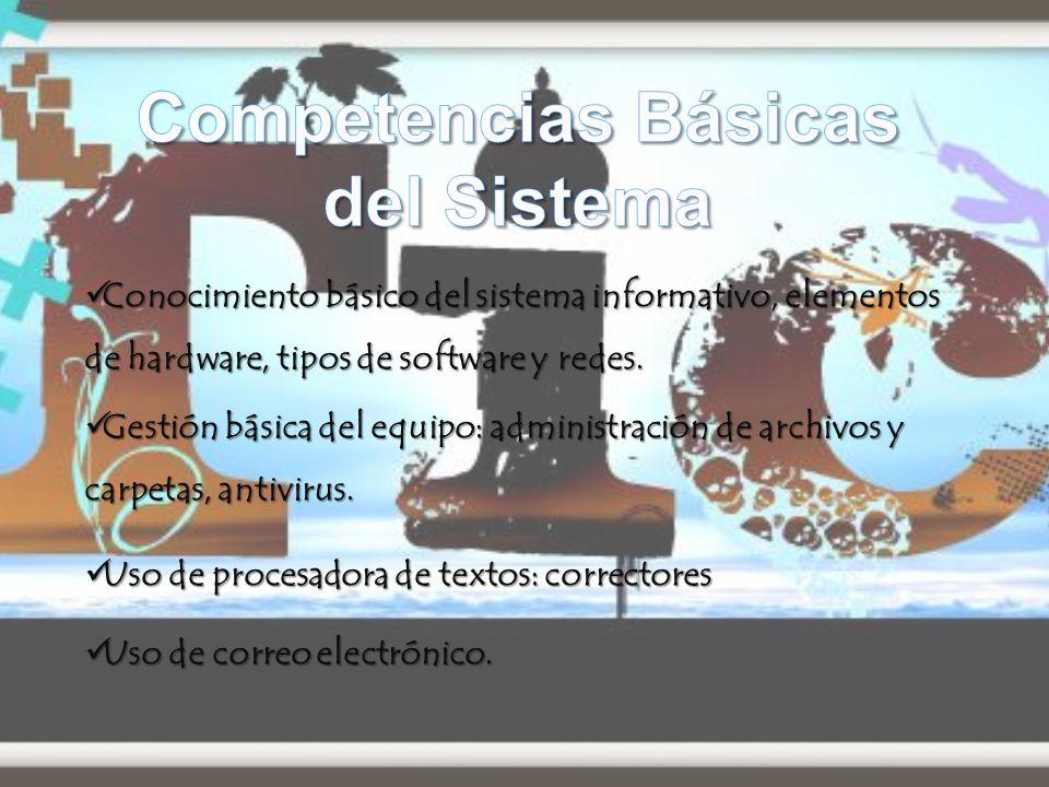 Conocimiento básico del sistema informativo, elementos de hardware, tipos de software y redes.
