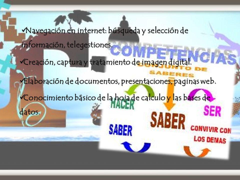 Navegación en internet: búsqueda y selección de información, telegestiones.