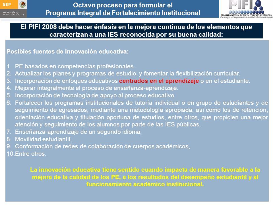 Introducción Documento ProFOE Autoevaluación académica institucional Políticas institucionales Actualización de la planeación institucional Autoevaluación académica de cada PE Actualización de la planeación de cada PE Documento ProGES Documento PIFI 2008 Criterios de evaluación y asignación de recursos Entrega / recepción Anexos Documento ProPE Octavo proceso para formular el Programa Integral de Fortalecimiento Institucional Autoevaluación de la gestión Réplica El PIFI 2008 debe hacer énfasis en la mejora continua de los elementos que caracterizan a una IES reconocida por su buena calidad: Posibles fuentes de innovación educativa: 1.PE basados en competencias profesionales.
