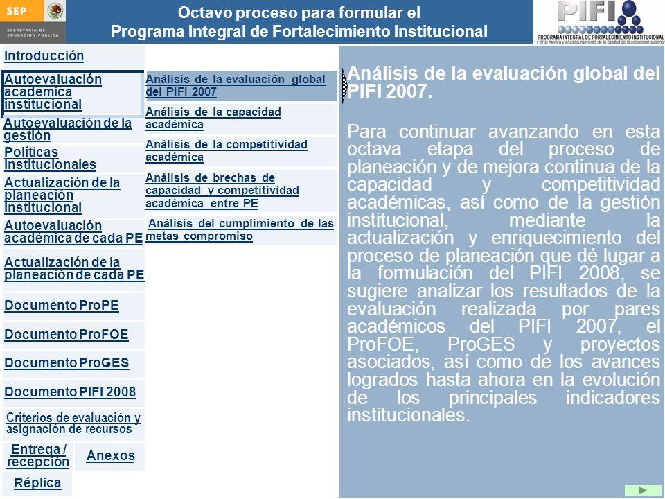Introducción Documento ProFOE Autoevaluación académica institucional Políticas institucionales Actualización de la planeación institucional Autoevaluación académica de cada PE Actualización de la planeación de cada PE Documento ProGES Documento PIFI 2008 Criterios de evaluación y asignación de recursos Entrega / recepción Anexos Documento ProPE Octavo proceso para formular el Programa Integral de Fortalecimiento Institucional Autoevaluación de la gestión Réplica Análisis de la evaluación global del PIFI 2007.