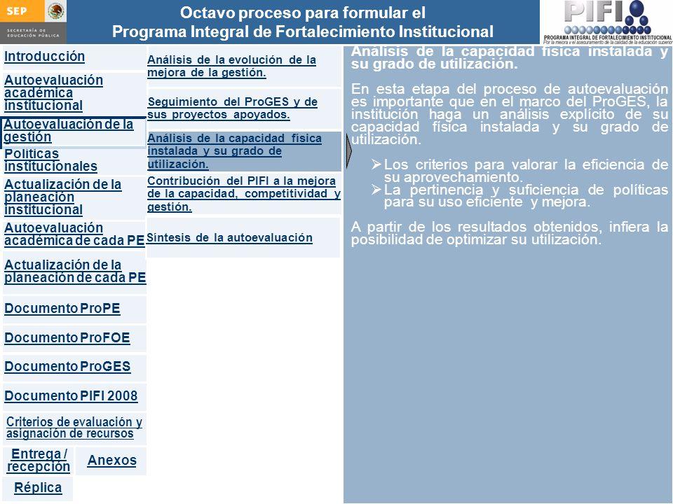 Introducción Documento ProFOE Autoevaluación académica institucional Políticas institucionales Actualización de la planeación institucional Autoevaluación académica de cada PE Actualización de la planeación de cada PE Documento ProGES Documento PIFI 2008 Criterios de evaluación y asignación de recursos Entrega / recepción Anexos Documento ProPE Octavo proceso para formular el Programa Integral de Fortalecimiento Institucional Autoevaluación de la gestión Réplica Análisis de la capacidad física instalada y su grado de utilización.