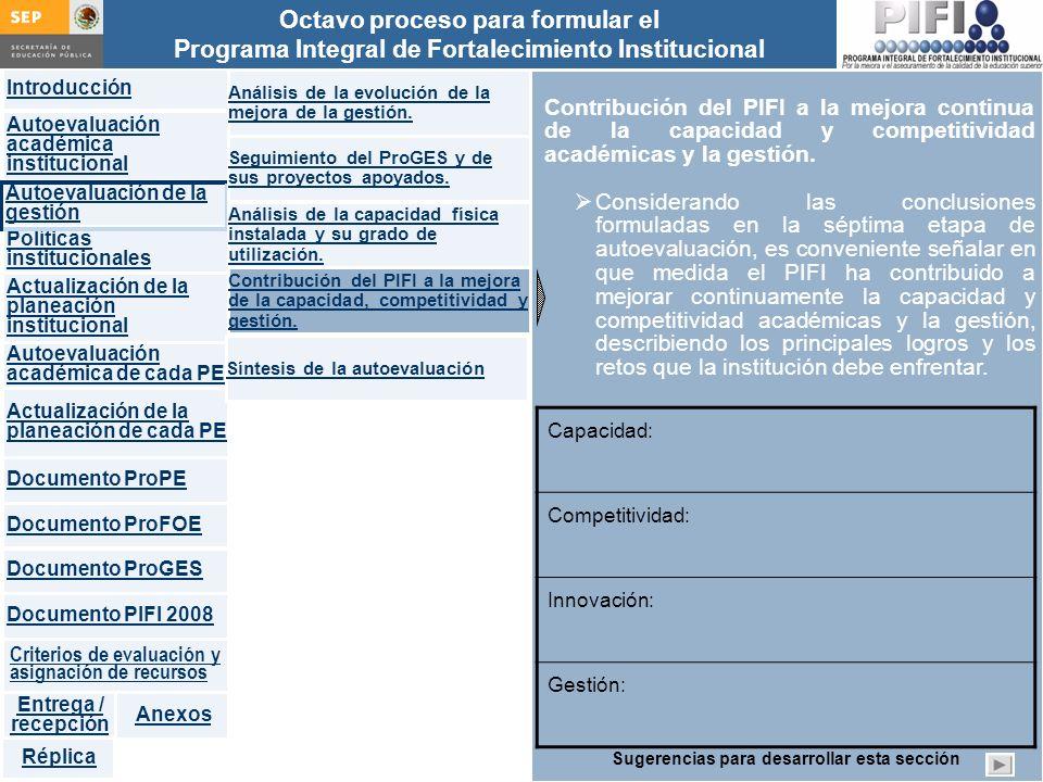 Introducción Documento ProFOE Autoevaluación académica institucional Políticas institucionales Actualización de la planeación institucional Autoevaluación académica de cada PE Actualización de la planeación de cada PE Documento ProGES Documento PIFI 2008 Criterios de evaluación y asignación de recursos Entrega / recepción Anexos Documento ProPE Octavo proceso para formular el Programa Integral de Fortalecimiento Institucional Autoevaluación de la gestión Réplica Contribución del PIFI a la mejora continua de la capacidad y competitividad académicas y la gestión.