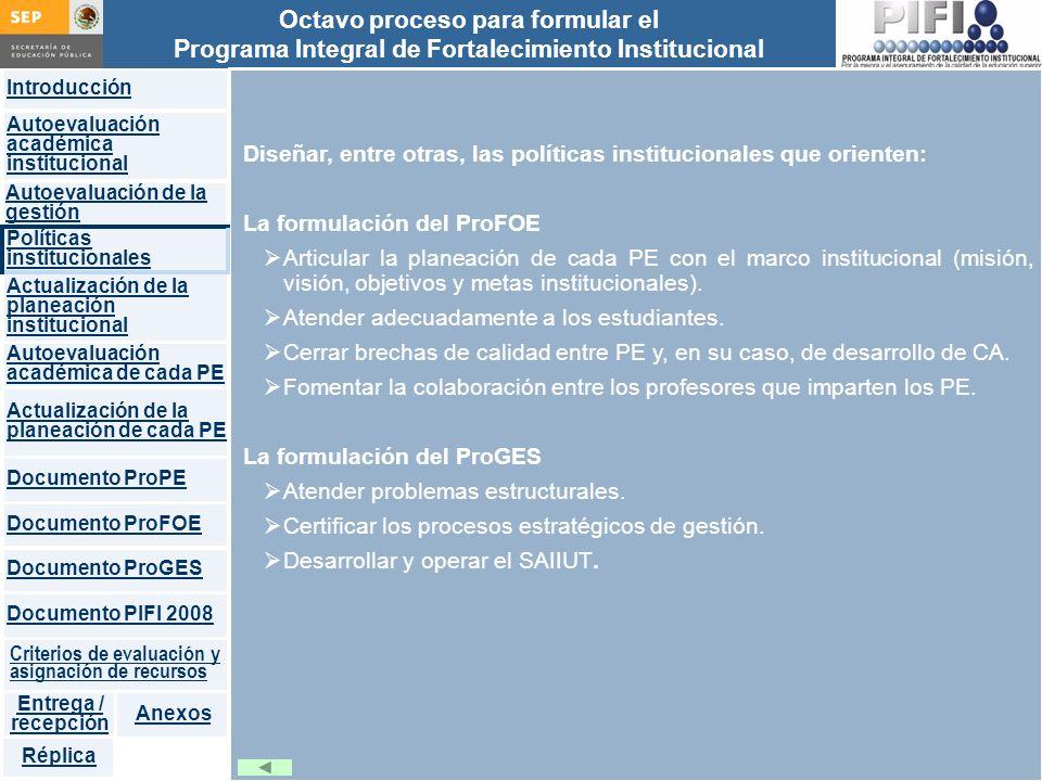 Introducción Documento ProFOE Autoevaluación académica institucional Políticas institucionales Actualización de la planeación institucional Autoevalua