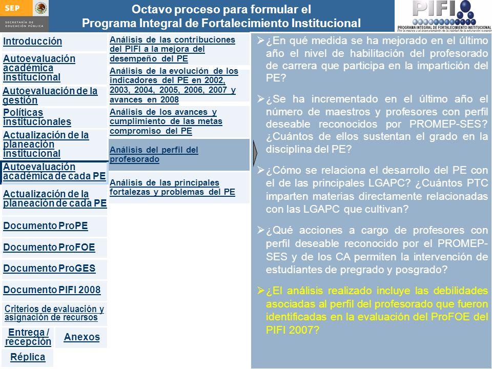 Introducción Documento ProFOE Autoevaluación académica institucional Políticas institucionales Actualización de la planeación institucional Autoevaluación académica de cada PE Actualización de la planeación de cada PE Documento ProGES Documento PIFI 2008 Criterios de evaluación y asignación de recursos Entrega / recepción Anexos Documento ProPE Octavo proceso para formular el Programa Integral de Fortalecimiento Institucional Autoevaluación de la gestión Réplica ¿En qué medida se ha mejorado en el último año el nivel de habilitación del profesorado de carrera que participa en la impartición del PE.
