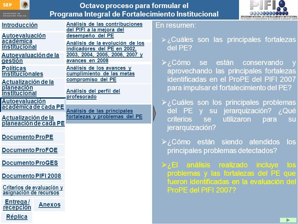 Introducción Documento ProFOE Autoevaluación académica institucional Políticas institucionales Actualización de la planeación institucional Autoevaluación académica de cada PE Actualización de la planeación de cada PE Documento ProGES Documento PIFI 2008 Criterios de evaluación y asignación de recursos Entrega / recepción Anexos Documento ProPE Octavo proceso para formular el Programa Integral de Fortalecimiento Institucional Autoevaluación de la gestión Réplica En resumen: ¿ Cuáles son las principales fortalezas del PE.