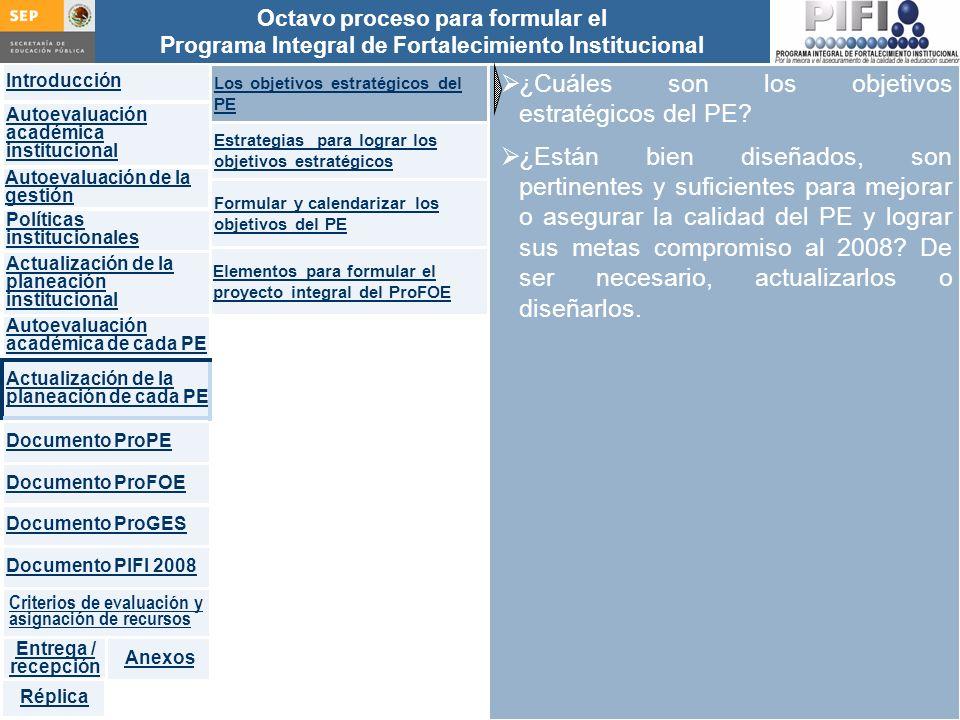 Introducción Documento ProFOE Autoevaluación académica institucional Políticas institucionales Actualización de la planeación institucional Autoevaluación académica de cada PE Actualización de la planeación de cada PE Documento ProGES Documento PIFI 2008 Criterios de evaluación y asignación de recursos Entrega / recepción Anexos Documento ProPE Octavo proceso para formular el Programa Integral de Fortalecimiento Institucional Autoevaluación de la gestión Réplica ¿Cuáles son los objetivos estratégicos del PE.