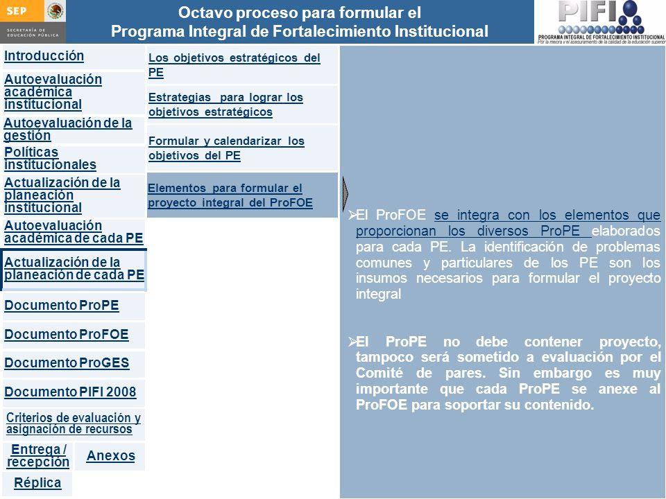 Introducción Documento ProFOE Autoevaluación académica institucional Políticas institucionales Actualización de la planeación institucional Autoevaluación académica de cada PE Actualización de la planeación de cada PE Documento ProGES Documento PIFI 2008 Criterios de evaluación y asignación de recursos Entrega / recepción Anexos Documento ProPE Octavo proceso para formular el Programa Integral de Fortalecimiento Institucional Autoevaluación de la gestión Réplica El ProFOE se integra con los elementos que proporcionan los diversos ProPE elaborados para cada PE.