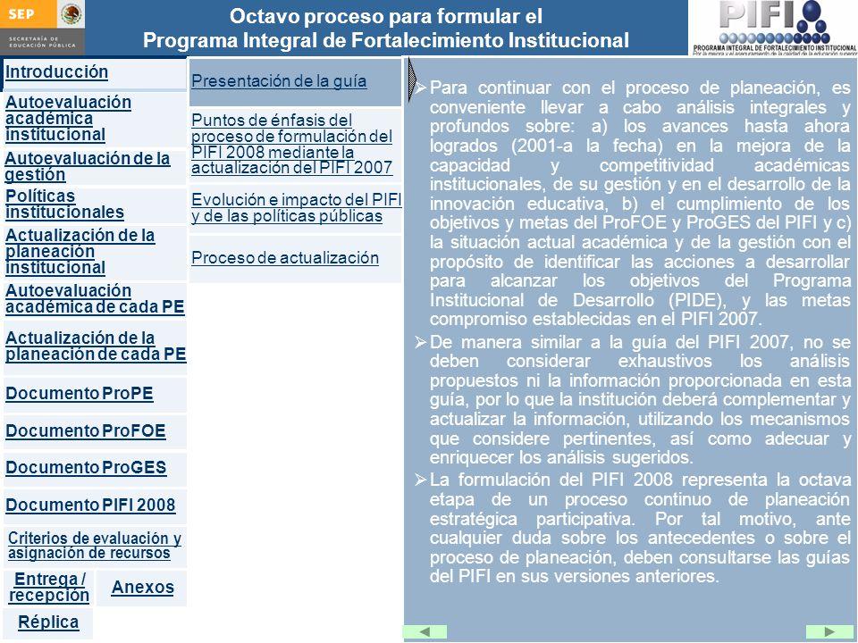 Introducción Documento ProFOE Autoevaluación académica institucional Políticas institucionales Actualización de la planeación institucional Autoevaluación académica de cada PE Actualización de la planeación de cada PE Documento ProGES Documento PIFI 2008 Criterios de evaluación y asignación de recursos Entrega / recepción Anexos Documento ProPE Octavo proceso para formular el Programa Integral de Fortalecimiento Institucional Autoevaluación de la gestión Réplica Un PE de buena calidad se caracteriza por: Amplia aceptación social por la sólida formación de sus egresados Altas tasas de titulación o graduación Profesores competentes en la generación, aplicación y transmisión del conocimiento, organizados en cuerpos académicos Currículo actualizado y pertinente Procesos e instrumentos apropiados y confiables para la evaluación de los aprendizajes Servicios oportunos para la atención individual y en grupo de los estudiantes Infraestructura moderna y suficiente para apoyar el trabajo académico de profesores y alumnos Servicio social articulado con los objetivos del programa educativo Sistemas eficientes de gestión y administración