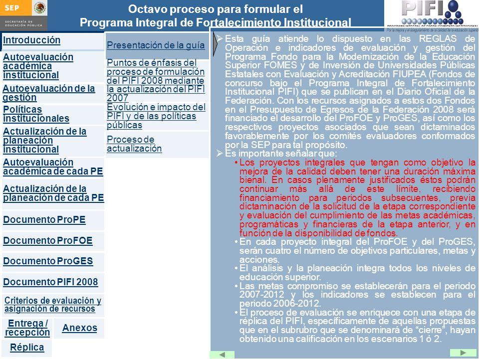 Introducción Documento ProFOE Autoevaluación académica institucional Políticas institucionales Actualización de la planeación institucional Autoevaluación académica de cada PE Actualización de la planeación de cada PE Documento ProGES Documento PIFI 2008 Criterios de evaluación y asignación de recursos Entrega / recepción Anexos Documento ProPE Octavo proceso para formular el Programa Integral de Fortalecimiento Institucional Autoevaluación de la gestión Réplica Diseñar, entre otras, las políticas institucionales que orienten: La formulación del ProFOE Articular la planeación de cada PE con el marco institucional (misión, visión, objetivos y metas institucionales).