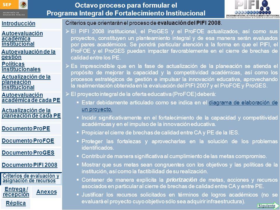 Introducción Documento ProFOE Autoevaluación académica institucional Políticas institucionales Actualización de la planeación institucional Autoevaluación académica de cada PE Actualización de la planeación de cada PE Documento ProGES Documento PIFI 2008 Criterios de evaluación y asignación de recursos Entrega / recepción Anexos Documento ProPE Octavo proceso para formular el Programa Integral de Fortalecimiento Institucional Autoevaluación de la gestión Réplica Criterios que orientarán el proceso de evaluación del PIFI 2008.