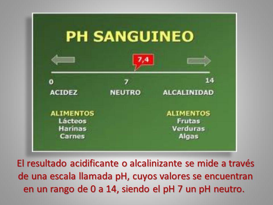 El resultado acidificante o alcalinizante se mide a través de una escala llamada pH, cuyos valores se encuentran en un rango de 0 a 14, siendo el pH 7