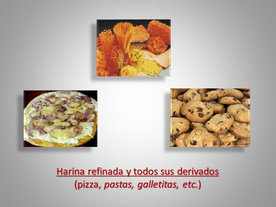 Harina refinada y todos sus derivados Harina refinada y todos sus derivados (pizza, pastas, galletitas, etc.) (pizza, pastas, galletitas, etc.)