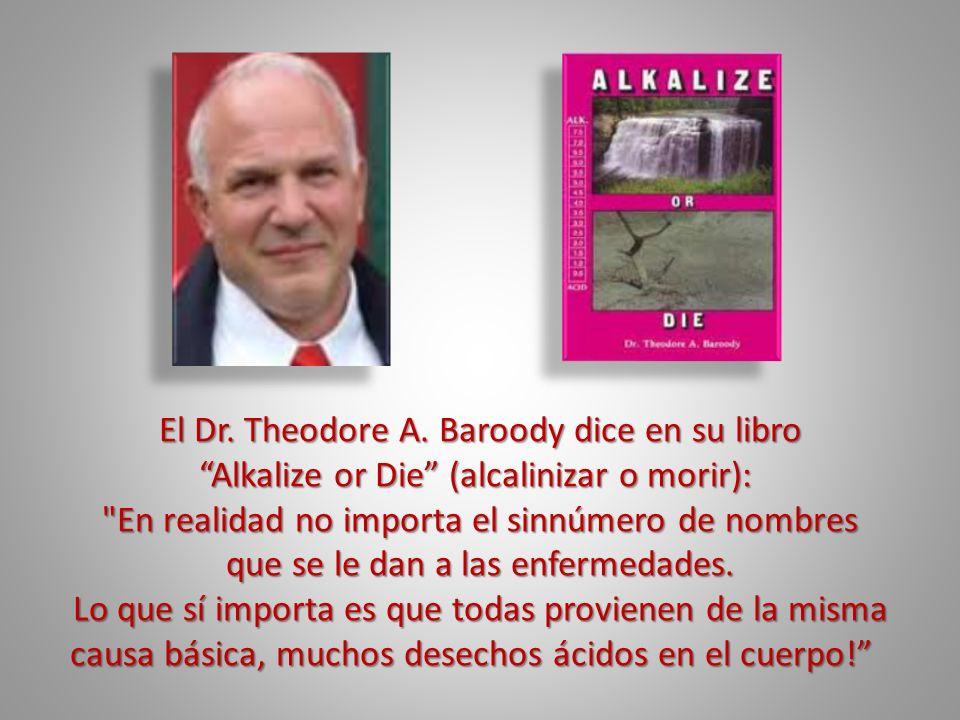 El Dr. Theodore A. Baroody dice en su libro Alkalize or Die (alcalinizar o morir): Alkalize or Die (alcalinizar o morir):