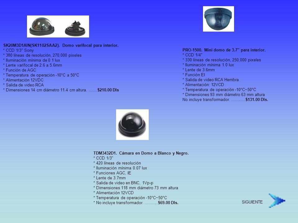 DOMOS MOTORIZADOS Sistema de Domos de alta velocidad * Control de hasta 64 domos (254 sin alarma) * Sistema de 360° continuos * Versiones a color y Día / Noche * Más de 200 preset Programables * Zonas de Privacidad * Control de su DVR desde el mismo controlador * Alarmas programables * Fácil de instalar * Tamaño compacto 4.9 * Accesorios para instalación en Techo, pared, plafón, esquinas, losa * Domo de Acrilico de 4.9 * Hasta 240 presets programables * Versión Color y Día / Noche Disponibles * 360° continuos en Paneo / 0°- 90° en Tilt * Velocidad de 0.1°- 250°/ seg.