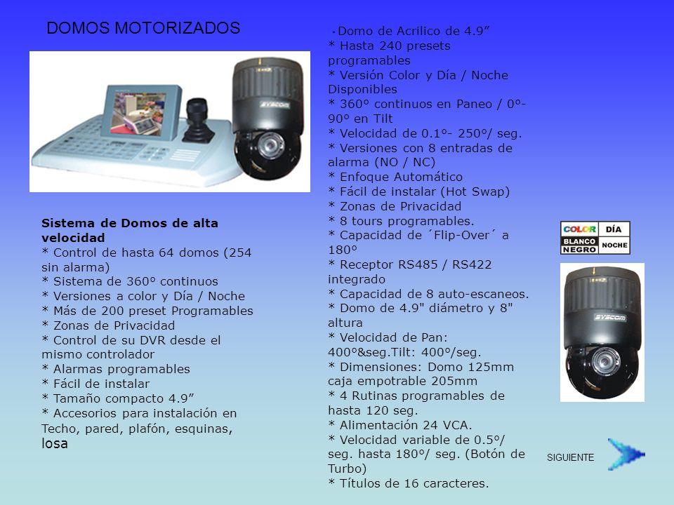 CaraterísticasHID2404SM11NHID2404HTE11NHID2404HCE11N TipoColor / Día / NocheColorColor / Día / Noche Resolución 470 TVL CCD 1/4 Sony Zoom 18X Optico / 12X Digital 22X Optico / 11X Digital 23X Optico / 10X Digital Longitud Focal4.1mm x 73.8mm3.9mm ~ 85.8mm3.6mm ~ 82.8mm Iluminación Mínima (color) 2.0 Lux1.0 Lux3.0 Lux Iluminació Mínima (B/N) 0.7 Lux (Shutter variable) -0.02 Lux (shutter variable) Entradas de Alarma8 Entradas Salidas de Alarma4 Salidas Zonas de Privacidad4 Zonas8 Zonas Tour de Velocidad Variable NOSI (3 Velocidades)Si (3 velocidades) Precio$1,926.00 Dls.$1,643.00 Dls.$2,124.00 Dls.