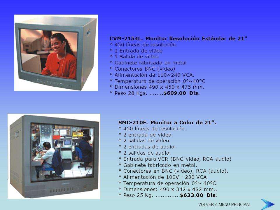 * Fácil de Utilizar * 4 Canales de video (BNC) / 1 Canal de Audio (RCA) * Velocidad de Grabación de 30ips * Velocidad de video en Vivo de 120ips * Sistema Simplex (sólo una función a la vez grabación o reproducción) * Resolución de grabación 320 x 112, 640 x 224, quad: 640 x 224 (Total) * Compresión MJPEG (12 - 20kbytes) * Calendarización por hora * Almacenamiento interior en Disco Duro (Máximo 1 de hasta 1TB, no incluido) * Compatible con cualquier disco duro de PC IDE * Activación de Grabación por detección de movimiento (sobre toda la imagen, no área seleccionable) * Búsquedas por Tiempo y Evento * Control Remoto inalámbrico incluido * Acceso Remoto a través de red de datos (Incluye software de acceso) * Soporta un usuario remoto a la vez * 4 Entradas / 1 Salida de Alarma * 2 Salidas de Video (BNC) * Multilenguaje (incluye español) * Velocidad y calidad de grabación seleccionable.