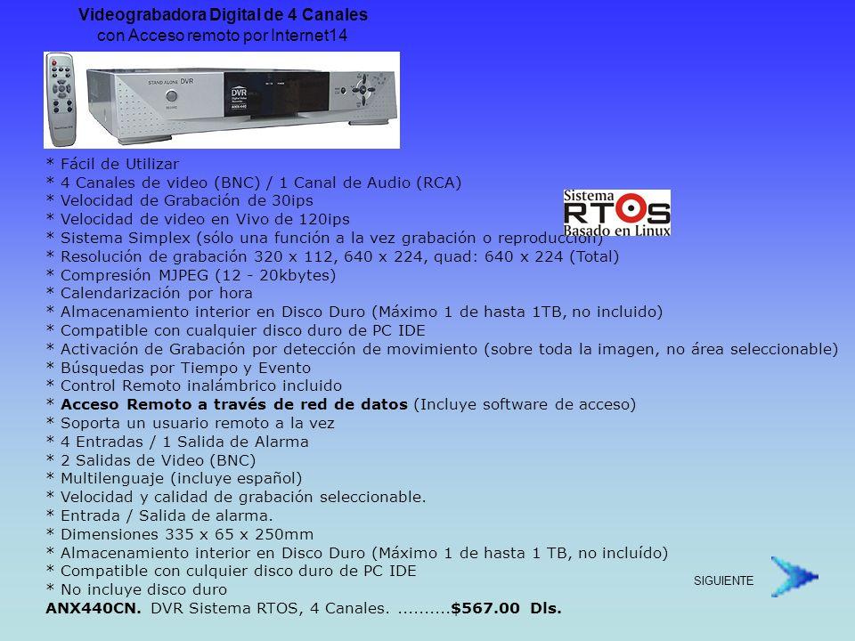 Videograbadora Digital de 4 Canales y Audio.con Inserción de Texto.