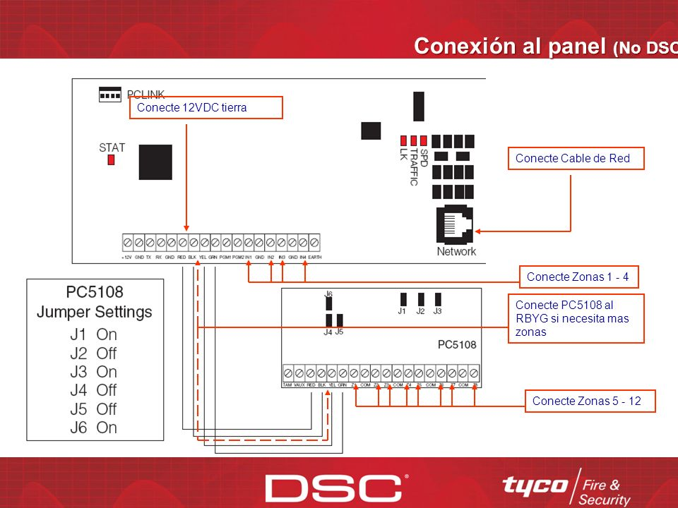 Conexión al panel (PC4020/5020) Conecte Cable de Red 12VDC y tierra Conecte Cable PC-Link