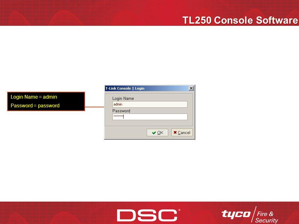 Programación del Panel Power Series Programación del TL250 Programación del panel [301] – número telefónico = DCAA [350] – Formato = SIA FSK [381] – Opción 3 Auto SIA = apagado [382] – Opción 5, PC-LINK activo= encendodo [401] – Opción 1 DLS Activo= encendido Toda la programación del TL250 se encuentra en [851] [001] – Dirección IP del TL250, 192.168.000.110 [002] – Mascara Subred, 255.255.255.000 [003] – número de cuenta, 0000001100 [007] – Dirección IP del DRL3-IP, 209.082.042.121 [008] – Puerta Enlace 192.168.000.001 [999] – Enter 00 para borrar, 55 para apagar y encender