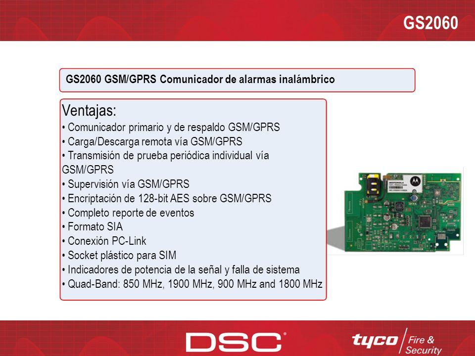GS2060 GS2060 GSM/GPRS Comunicador de Alarmas Inalámbrico Descripción: El GS2065 brinda comunicación primaria o de respaldo por GSM/GPRS para los pane