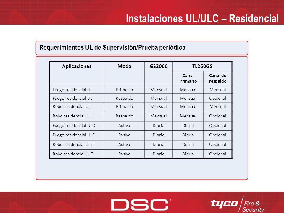 Instalaciones UL/ULC – Comercial Requerimientos UL de Supervisión/Prueba periódica AplicacionesModoGS2060TL260GS Canal Primario Canal de respaldo Robo