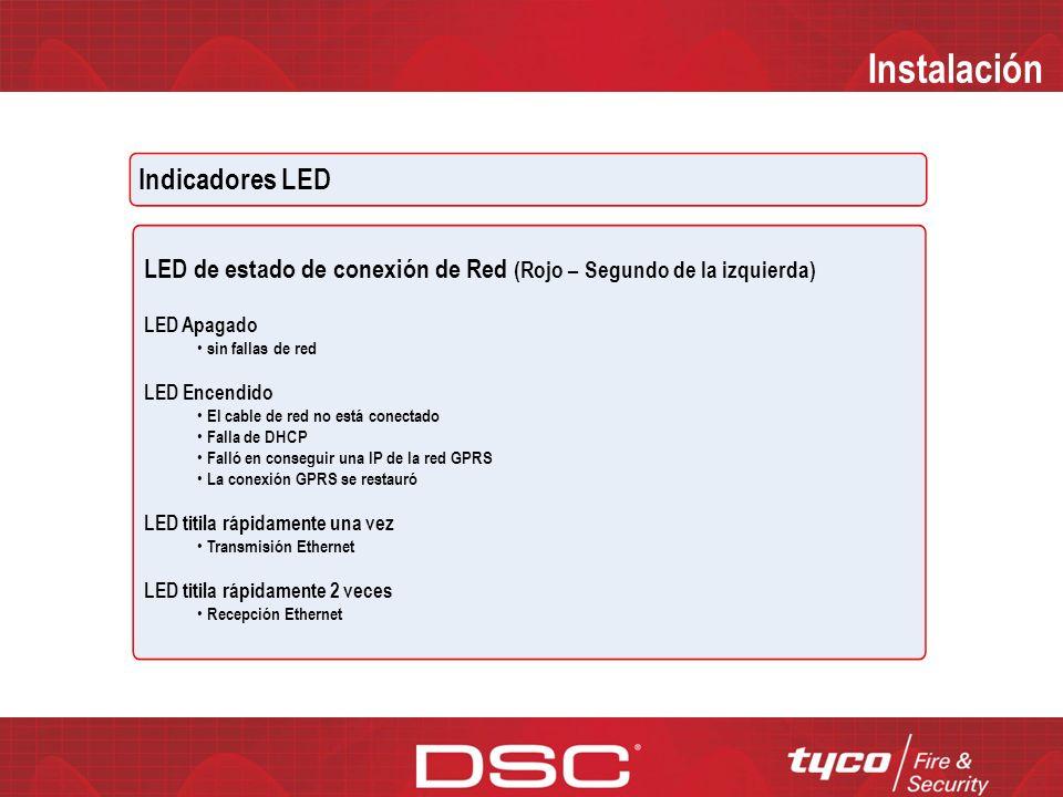 Instalación Indicadores LED LED de fallas (Amarillo – Primero de la izquierda)