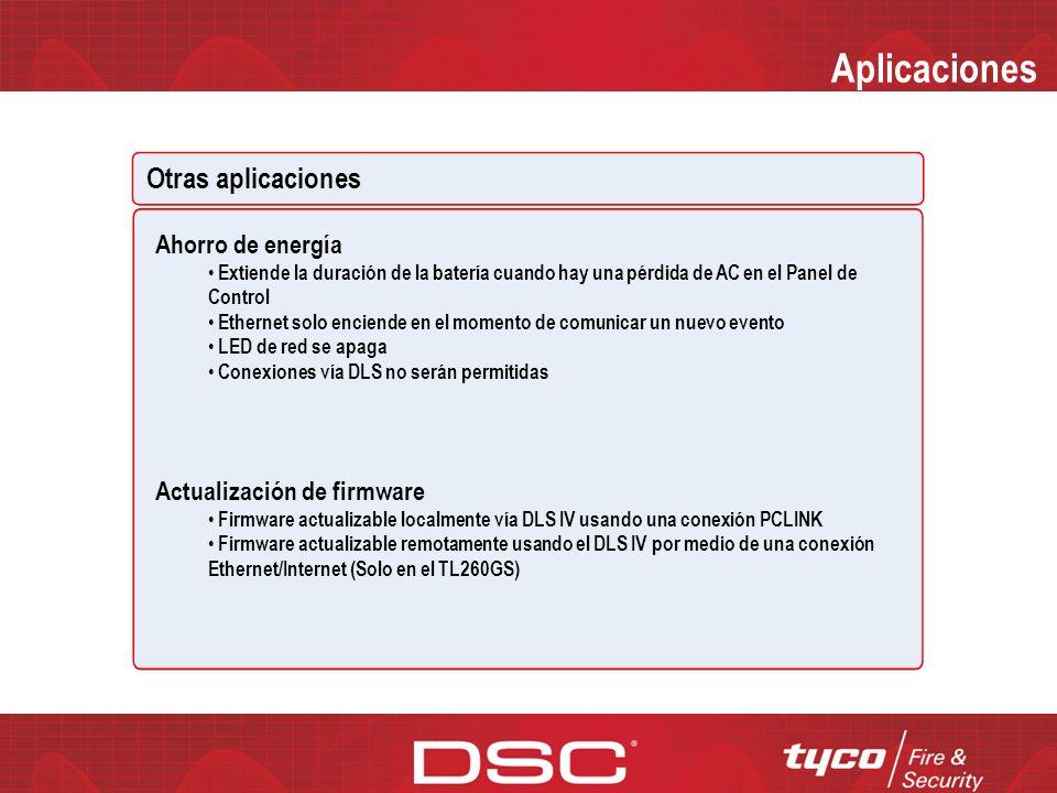 Aplicaciones Otras Aplicaciones Transmisión de prueba periódica Prueba periódica individual vía GPRS y Ethernet Intervalos Diarios, Semanales y Mensua