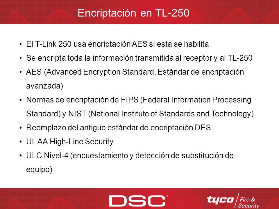 Integración con el panel vía PC-Link con PowerSeries y Maxsys Operación autónoma de hasta 12 entradas programables Seguidor de campana en modo panel autónomo Modos de operación del TL-250