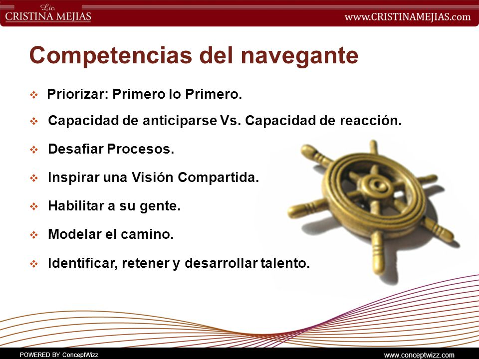 POWERED BY ConceptWizz www.conceptwizz.com Competencias del navegante Priorizar: Primero lo Primero.