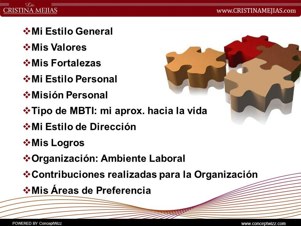 POWERED BY ConceptWizz www.conceptwizz.com Mi Estilo General Mis Valores Mis Fortalezas Mi Estilo Personal Misión Personal Tipo de MBTI: mi aprox.