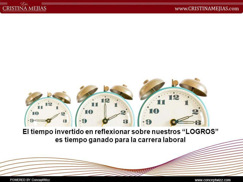POWERED BY ConceptWizz www.conceptwizz.com El tiempo invertido en reflexionar sobre nuestros LOGROS es tiempo ganado para la carrera laboral