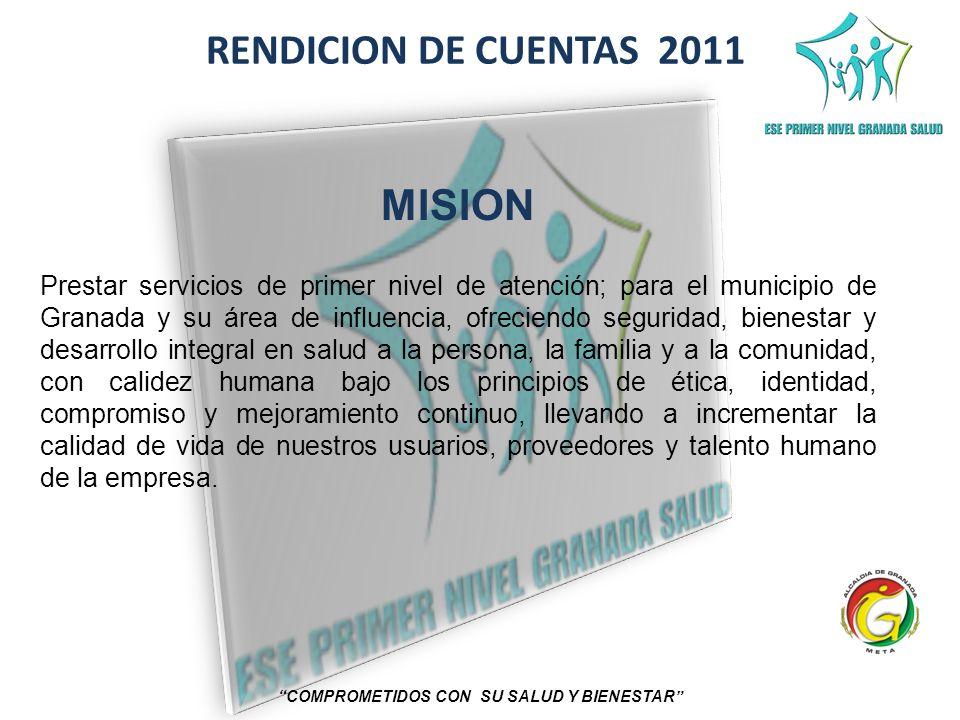 RENDICION DE CUENTAS 2011 COMPROMETIDOS CON SU SALUD Y BIENESTAR MISION Prestar servicios de primer nivel de atención; para el municipio de Granada y