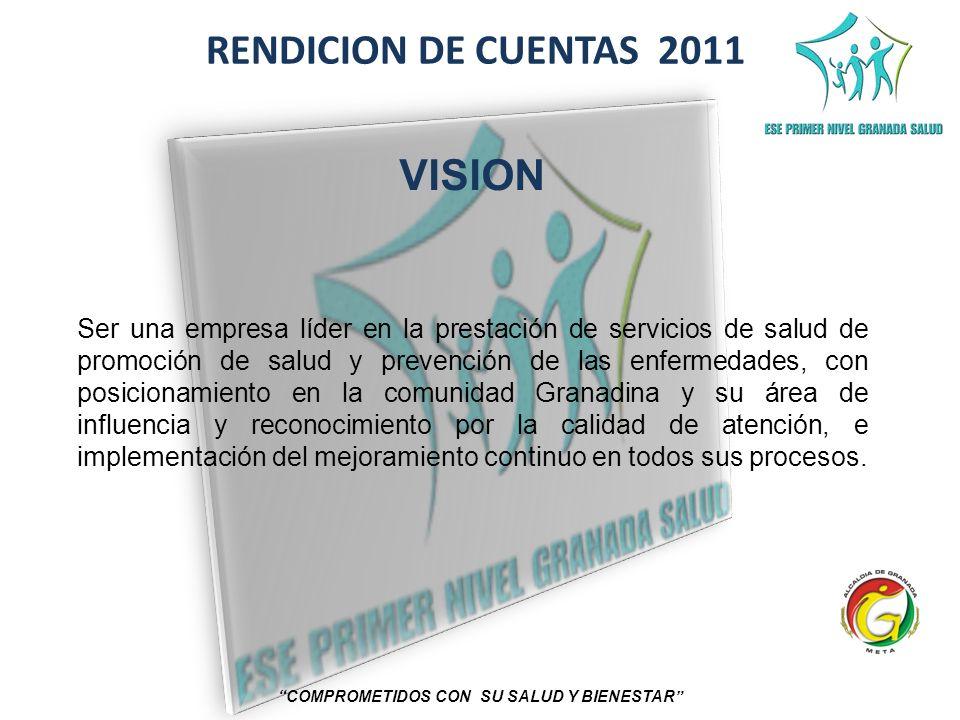 RENDICION DE CUENTAS 2011 COMPROMETIDOS CON SU SALUD Y BIENESTAR VISION Ser una empresa líder en la prestación de servicios de salud de promoción de s