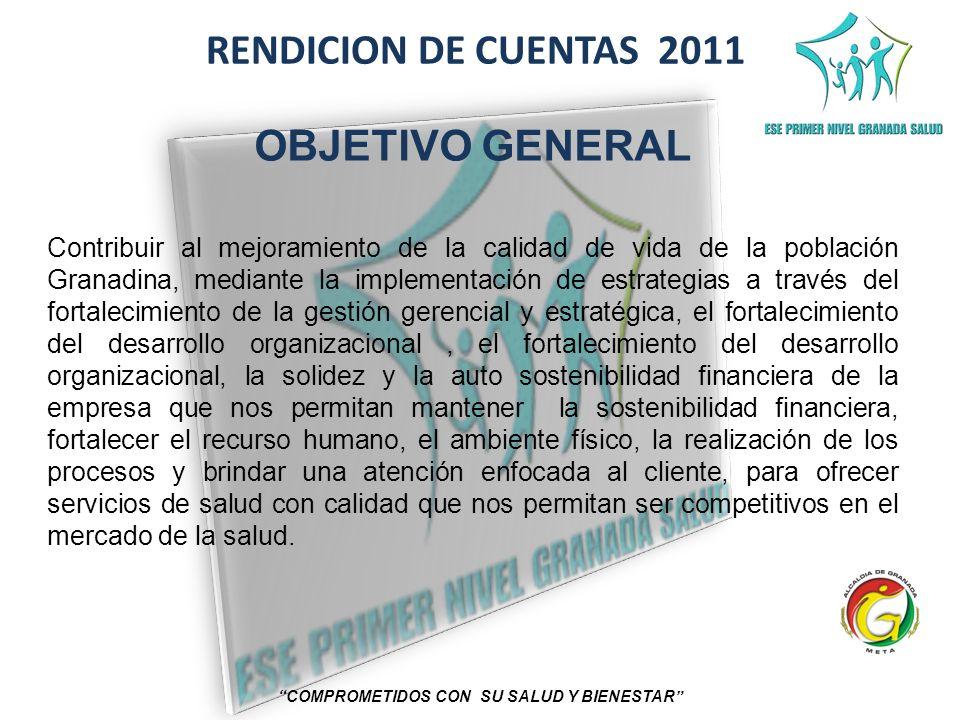 RENDICION DE CUENTAS 2011 COMPROMETIDOS CON SU SALUD Y BIENESTAR OBJETIVO GENERAL Contribuir al mejoramiento de la calidad de vida de la población Gra