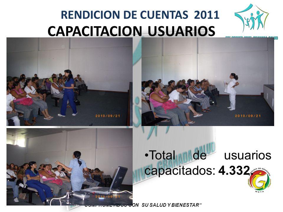 RENDICION DE CUENTAS 2011 COMPROMETIDOS CON SU SALUD Y BIENESTAR CAPACITACION USUARIOS Total de usuarios capacitados: 4.332.