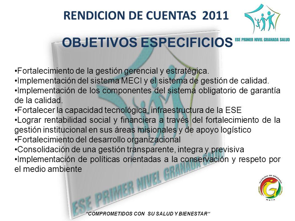 RENDICION DE CUENTAS 2011 COMPROMETIDOS CON SU SALUD Y BIENESTAR OBJETIVOS ESPECIFICIOS Fortalecimiento de la gestión gerencial y estratégica. Impleme