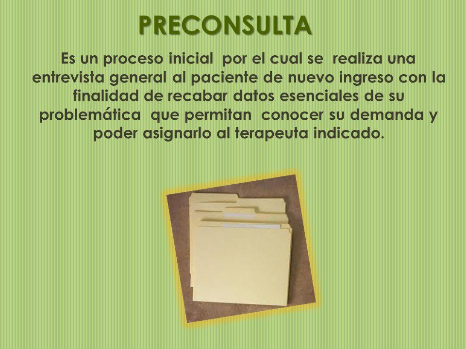 PRECONSULTA Es un proceso inicial por el cual se realiza una entrevista general al paciente de nuevo ingreso con la finalidad de recabar datos esencia