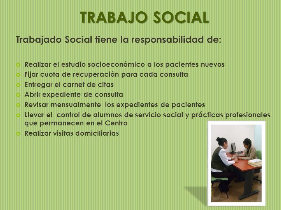 Trabajado Social tiene la responsabilidad de: Realizar el estudio socioeconómico a los pacientes nuevos Fijar cuota de recuperación para cada consulta