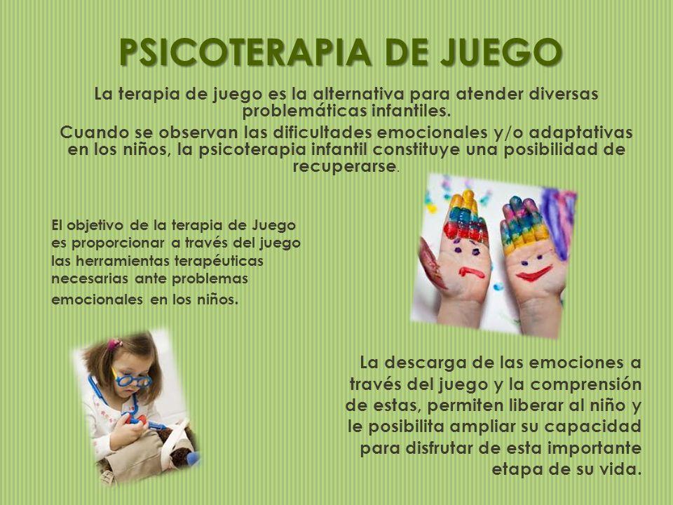 La terapia de juego es la alternativa para atender diversas problemáticas infantiles. Cuando se observan las dificultades emocionales y/o adaptativas